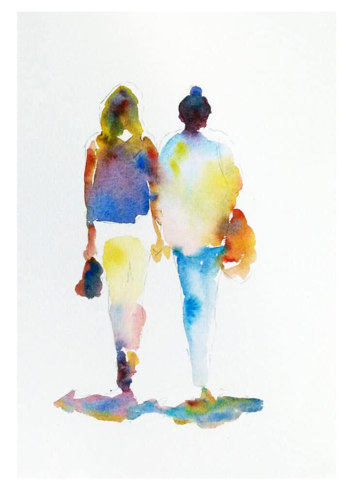 2 women walking