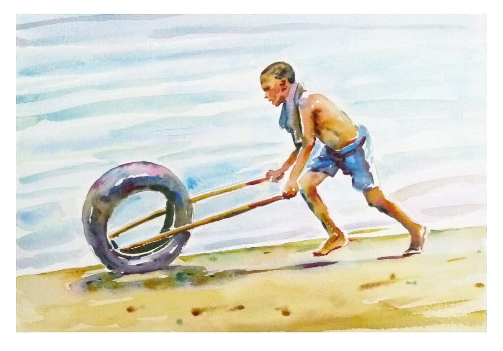 Boy with tyre